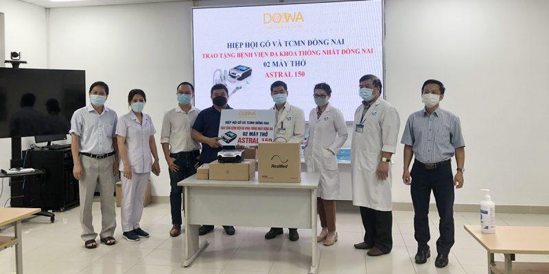 DOWA trao tặng Bệnh biện đa khoa Thống Nhất Đồng Nai 02 máy thở hỗ trợ công tác điều trị bệnh nhân nhiễm COVID .